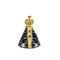 Pingente Nossa Senhora De Ouro 18k 2 Diamantes 4 Safiras