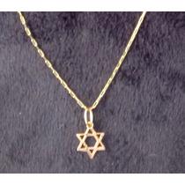 Estrela De Davi + Corrente Em Ouro 18k 750 Com Certificado