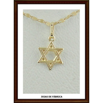 Pingente Estrela De Davi Em Ouro 18k Frete Grátis