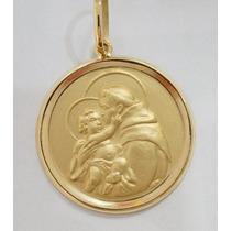 Swjoias Oferta Medalha Pingente Santo Antonio Ouro 18k