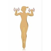 Pingente Fitness Malhadora Halter, Ouro18k 2,0cm