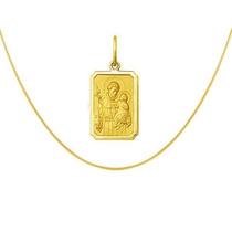 Medalha Santo Antônio Com Corrente Veneziana Ouro 18k