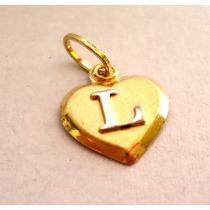 Pingente Coração C/letra Joia Em Ouro 18k Amarelo Imperdível