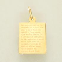 Pingente Ouro 18k 750 Oração Pai Nosso Feminino Masculino