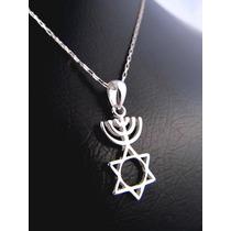 Cordão + Pingente Estrela De Davi Menorah Médio Prata 950k