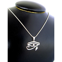 Pingente Poderoso Amuleto Olho De Hórus Utchat Prata 925k