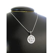 Pingente Medalha Poderoso E Místico Pentagrama P. Prata 950