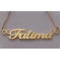 Colar Com Nome Personalizado Prata Folheado A Ouro 18k