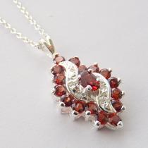 Corrente E Pingente Prata 925, Granada, Diamante, Cód 7058
