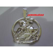 Pingente De São Jorge Em Prata 950 Kl Fret Gratis