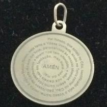 Pingente Oração Pai Nosso Em Prata 950 Maciça Com Gargantilh