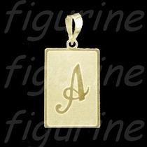 Pingente Letra Inicial Nome Placa Em Prata Banhada A Ouro