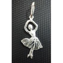 Pingente Bailarina = Maciço Em Prata 990