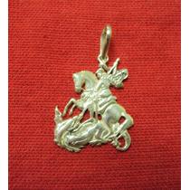 Pingente São Jorge. (3 Cm) Prata Maciça 925.
