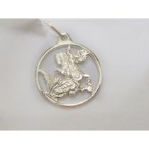 Pingente Medalha São Jorge Em Prata 950k