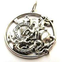 Pingente São Jorge C/simbolo Corinthians (prata De Lei 950)