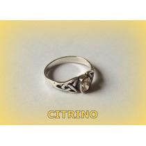 Anel Celta Classic Triquetra Citrino Prata 2,0 Gr. - Aro 17