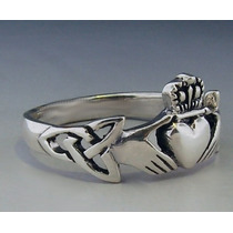 Anel Claddagh Celtic Knot - Pura Prata 925- 2,3 Gr. - Aro 13