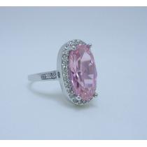 Anel Prata Com Pedra Turmalina Rosa