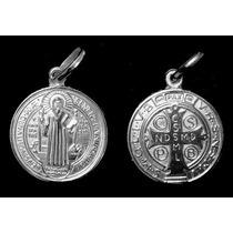 Medalha De Sao Bento Em Pe E Corrente Veneza De Prata