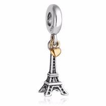 Charm Pingente Pandora Berloque Prata Ouro Paris Torre Eifel