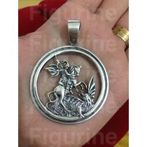 Pingente Medalha De São Jorge Em Prata 925 - Pesado - Top