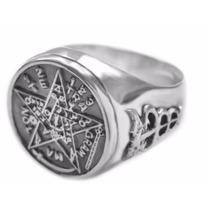 Anel Pentagrama Esotérico Em Prata