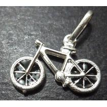 Pingente Bicicleta; Bike; Pedal = Maciço Em Prata 990