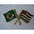 Pin Boton Broche Bandeira Brasil Sp Motociclista Militar