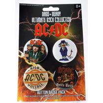 Ac/dc - 4 Boton Button Botton Pin Broche Rock Heavy Metal