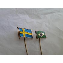 Pins Bandeiras Suécia E Brasil - Par