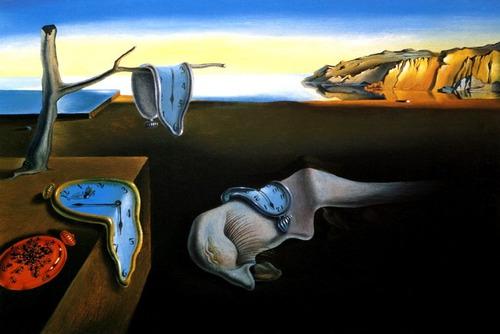 Pintura Abstrata Relógios Tempo Mar Pintor Dali Tela Repro