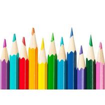 Kit Com 50 Desenhos + Lápis De Cor + Hidrocor + Tinta Guache