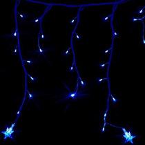Cascata Natal 100 Led 110v Com Estrela Fixo Azul 2,8mx36cm