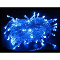 Pisca Pisca 100 Led Azul - Cordão 10m 8f Natal Festa Frozen