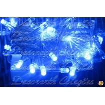Pisca Natal 100 Leds 8m 220v Azul Intenso Alto Brilho