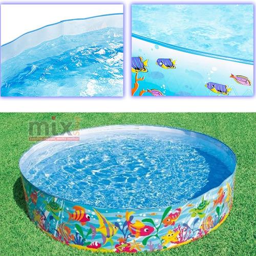 Piscina intex familiar redonda 977lts vinil r gido jardim for Lona piscina redonda