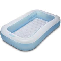 Piscina Inflavel Bebe Infantil Retangular 102l Azul Intex Fg