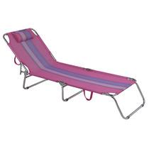 Cadeira Praia Piscina Espreguiçadeira Aluminio Rosa