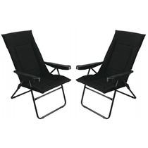 Kit C/02 Cadeiras Reclinável Alfa 4 Posição Preta Porta Copo
