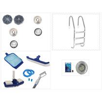 Kit Para Piscina Iluminação Leds + Comado + Limpeza