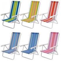 Cadeira De Praia Reclinável 4 Posições 73x54x83 Cor Sortida