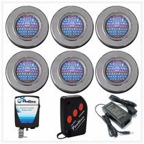 Kit Iluminação Para Piscina 6 Refletores 65 Leds + Comando