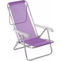Cadeira De Praia Reclinável 8 Posições Alumínio Lilás - Mor