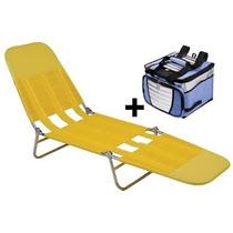 Cadeira Espreguiçadeira Praia Piscina Dobrável + Cooler 24 L