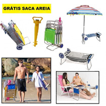 Carrinho Praia Alumínio Saca Areia Carrega Cadeira Guardasol