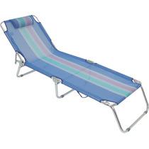 Cadeira Praia Piscina Espreguiçadeira Aluminio Azul
