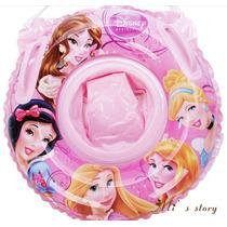 Bóia Inflável Redonda Piscina Infantil Disney Princesas Rosa