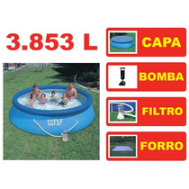 Piscina Intex 3853 Litros Bomba Filtrante Capa Forro Quick 1