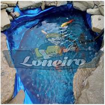 Lona Plástica Azul 7x5 Lago Tanque Peixes Cisterna 300micras